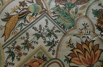Vintage Retro French Jacobean Botanical Floral Cotton Fabric ~ Brown Green Gold