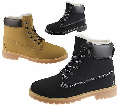 Womens Fur Lined Ankle Combat Boots Rubber Grip Sole Ladies Winter Shoes Size