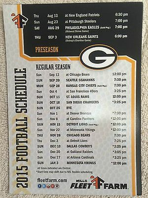 "Green Bay Packers 2015 Football Schedule Magnetic Large 7"" x 5"""