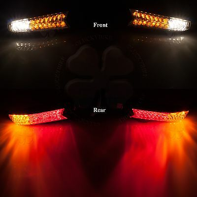 Clear LED Universal Stalk Front Turn Signal Rear Tail Light Indicator Set Combo