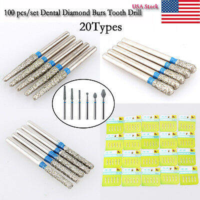 100 pcs/set Dental Diamond Burs For High Speed Handpiece Medium FG 1.6mm