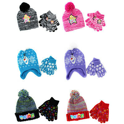 Disney Nickelodeon Mattel Girls Hat and Gloves Set Frozen Barbie Inside Out