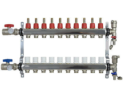 "10 Loop/Branch 1/2"" Pex Manifold Stainless Steel Radiant Floor Heating Set / Kit"