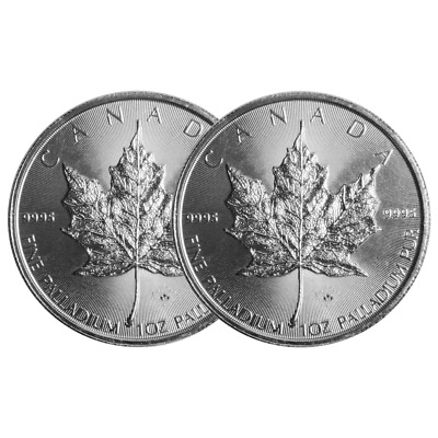 Lot of 2 - 2015 $50 Palladium Canadian Maple Leaf .9995 1 oz BU Sealed