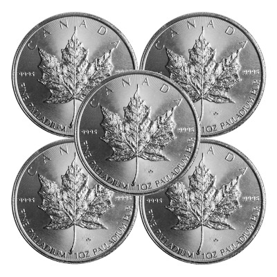 Lot of 5 - 2015 $50 Palladium Canadian Maple Leaf  .9995 1 oz BU Sealed