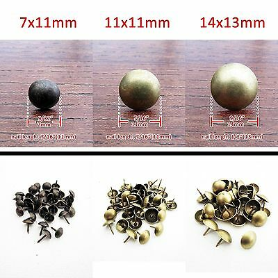 100 Antique Brass Upholstery Nail Jewelry Gift Box Sofa Decorative Tack M1100 QL
