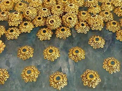 150 Antique Gold Metal Etched Flower Bead Caps 8mm Jewellery Making Craft