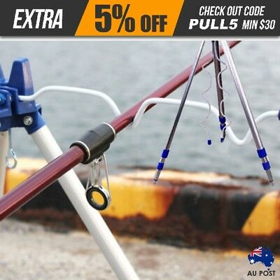 5 Five Rod Portable Fishing Rod Holder Tripod Stand Rest Rack Au