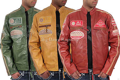 Aviatrix,Homme Designer Veste Cuir, Jli , Authentique Motards Vintage