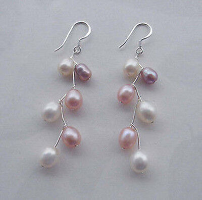 Noblest Beautiful White and pink  purple FW Pearl Earring 925s HOOK