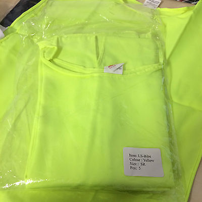 Sportif Yellow Fluorescent Sports Bibs Size Small/regular X5 Bibs Brand New