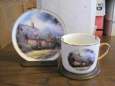 Thomas Kinkade Plate And Cup--Moonlight Cottage
