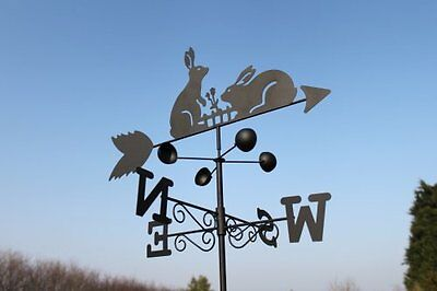 RABBITS steel weathervane with ground spike and wall fixing