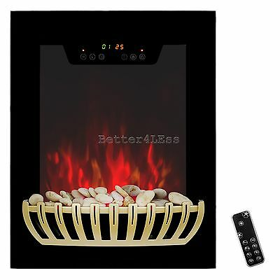 "19"" Tempered Glass Electric Fireplace Heat Wall Mount Adjustable 5200 BTU 1500W"