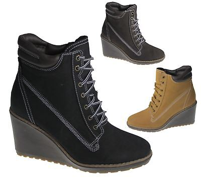 Womens Wedge Heel Boots Ladies High Top Desert Winter Combat Ankle Shoes Size