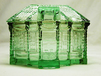 Covered House Shaped Candy Dish or Trinket Box - Depression Style Green Glass