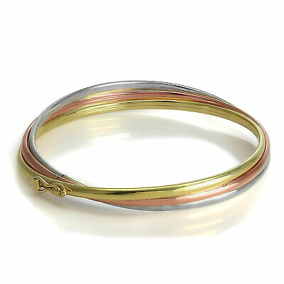 9ct White Yellow & Rose Gold Triple Band Russian Wedding Bangle Adult