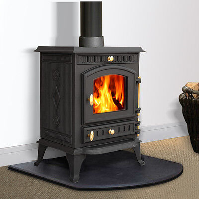 7.5KW Multifuel Woodburner Stove Wood Burning Burner Fire Fireplace Cast Iron