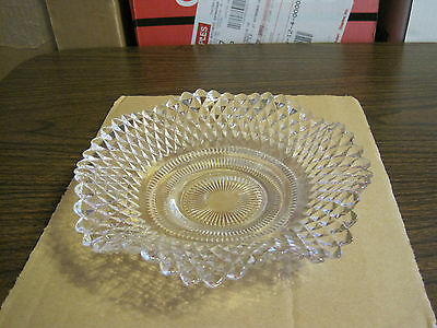 Vintage Depression Diamond Cut Clear Glass Dish