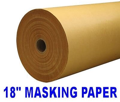"18"" X 200m GOLD BROWN MASKING PAPER 50GSM PAINT MASKING BODYSHOP CAR"