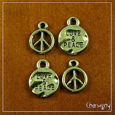 Antique Gold Love & Peace Sign charms ~OPTIONS~ tiny hippie pendant earring bead