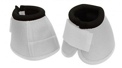 Pair of WHITE SIZE LARGE Heavy Duty No Turn Horse Bell Boots by Showman NEW TACK