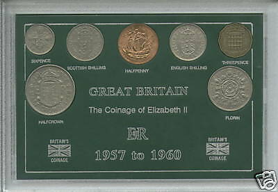 1957-1960 GB Queen Elizabeth II Second Type Coin Collecting Collector Gift Set