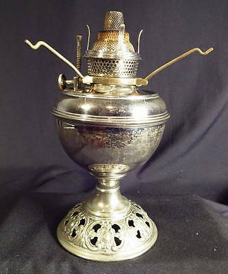 1880's Bradley & Hubbard Nickel-Over-Brass Center Draft Kero Oil Table Lamp