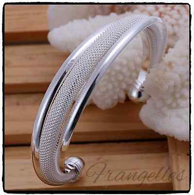 Ladies 925 Sterling Silver Twisted Mesh Net Rope Cuff Bangle Bracelet Gift