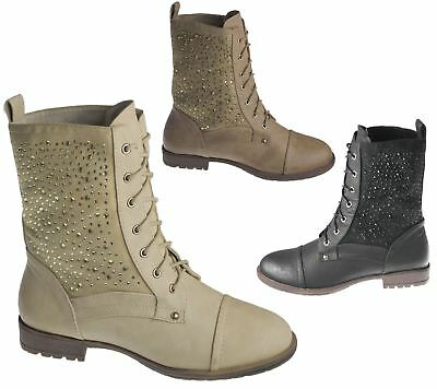 Womens High Top Ankle Boots Ladies Diamante Army Biker Desert Winter Shoes Size