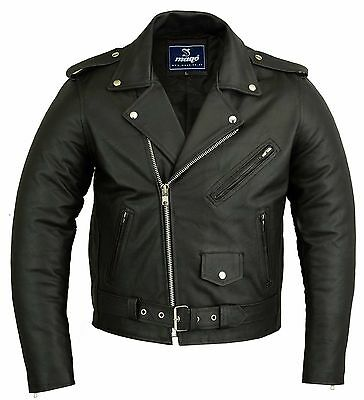Mens Classic Motorbike Motorcycle Perfecto Brando Leather Jacket