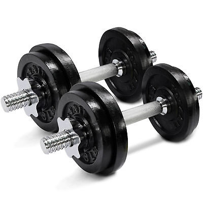 Cast Iron Adjustable Dumbbells Set Cap Gym Weight Plate Fitness 40 lbs - ²D2CLD