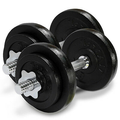 Cast Iron Adjustable Dumbbells Set Cap Gym Weight Plate Fitness 50 lbs - ²D8UJD