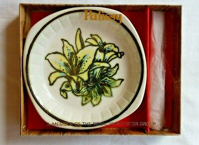 Vintage Royal Worcester Palissy 'Orchid' pattern Pin/Trinket Butter Dish BNIB