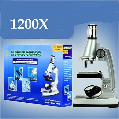 1200x Zoom Illuminated Biological Microscope Student Science Education kids gift