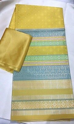 !Beautiful Silk Fabric Synthetic Thai Tradition for wedding dress 2pcs