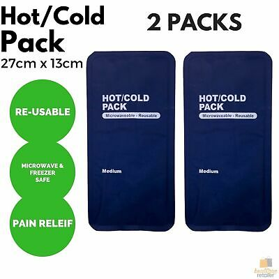 2x HOT COLD PACK First Aid Reusable Ice Heat Gel Packs Microwaveable Relief New