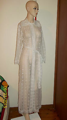 MINT - Collectable Vintage Fifth Avenue Lace Maxi Robe - S 8 10 - wedding dress