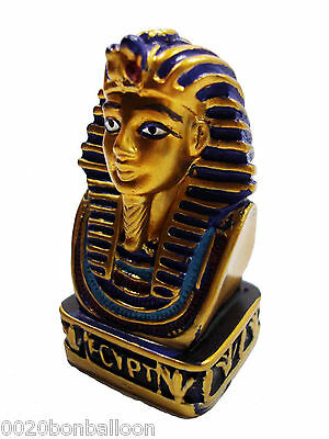 "Egypt King Tut Pharaoh Figurine Statue Ancient Hand Painted 2.3"" Sculpture (232)"