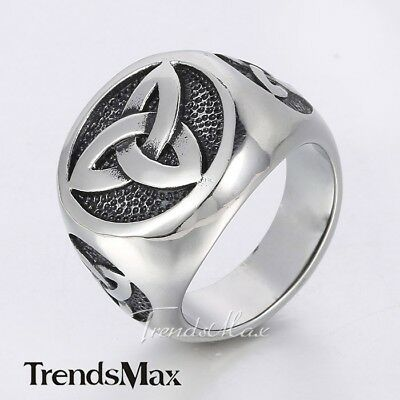 Celtic Knot Signet Ring Mens Boys Black Silver Tone 316L Stainless Steel Ring