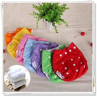 5x Reusable modern Baby Cloth Nappies Diapers Adjustable nappy + 5 inserts