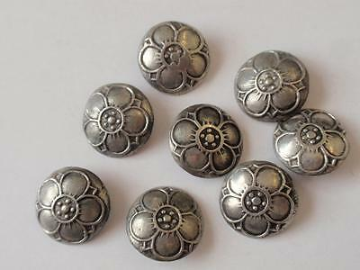 Set Of 8 Arts & Crafts Silver Buttons.   Circa  1905