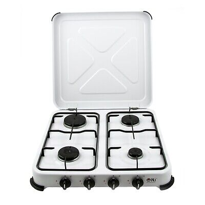 NJ-04 Camping Gas Stove 4 Burners Portable LPG Cooker Enamel Cover Outdoor NEW