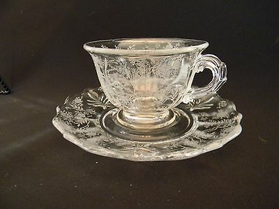 VINTAGE *Mint condition* Finely Etched Crystal Fostoria Chintz Cup and Saucer