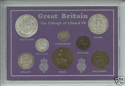 1902-1910 King Edward VII Great Britain Type GB Coin Gift Set in Display Case