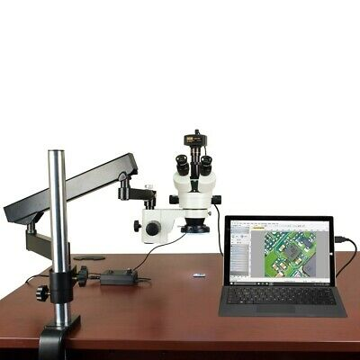3.5X-90X 14MP Digital Articulating Stand Zoom Stereo Microscope 144 LED Light