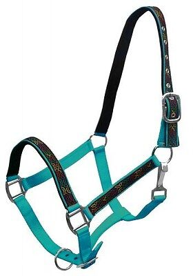 TEAL Nylon Horse Halter With Celtic Knot Design Overlay! NEW HORSE TACK!!!