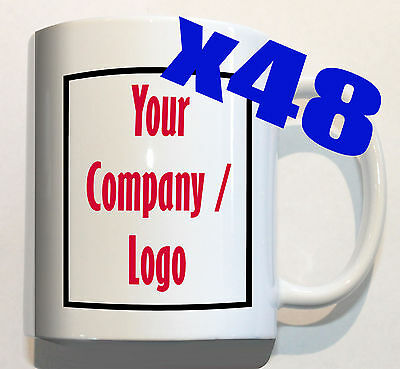 YOUR COMPANY LOGO on 48 mugs personalised corporate custom promotion