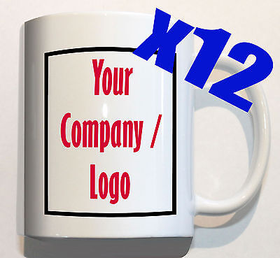 YOUR COMPANY LOGO on 12 mugs personalised corporate custom promotion