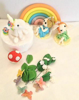 Fairy Ladybug Flower Butterfly Unicorn Rainbow Edible Fondant Cake Topper Set